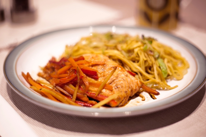 Salmon with Ginger, Peppers & Noodles
